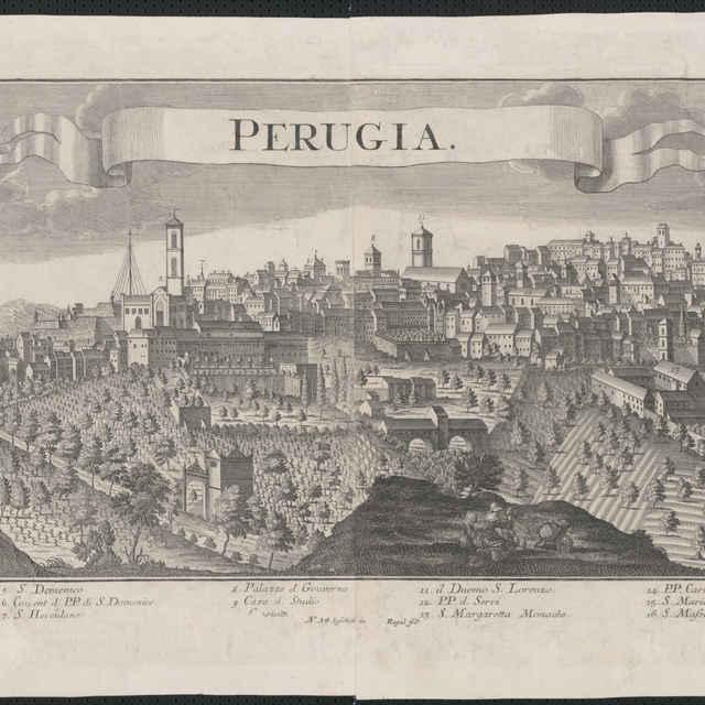 Obraz, Perugia, veduta, autori: Friedrich Bernhard Werner, Georg Balthasar Probst, grafika, r.1730-1735 - Werner Friedrich Bernhard