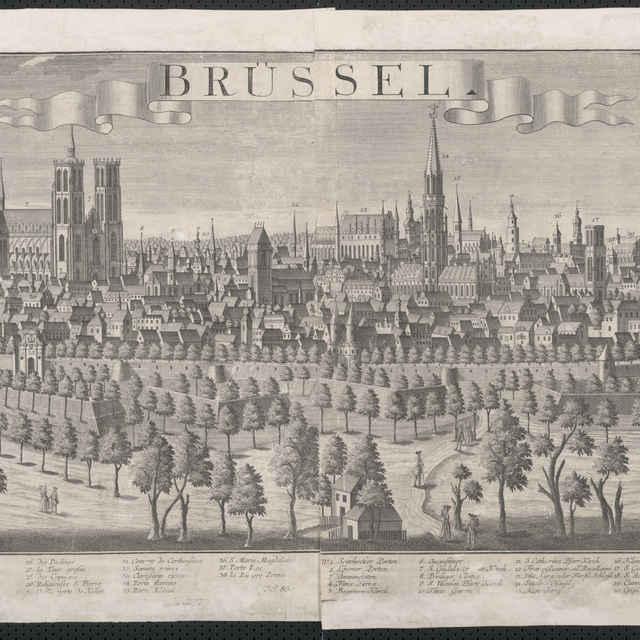 Obraz, Brussel. (Brusel), veduta, autori: Friedrich Bernhard Werner, Johann Friedrich Probst, Jeremias Wolff, grafika, r.1730-1750 - Werner Friedrich Bernhard