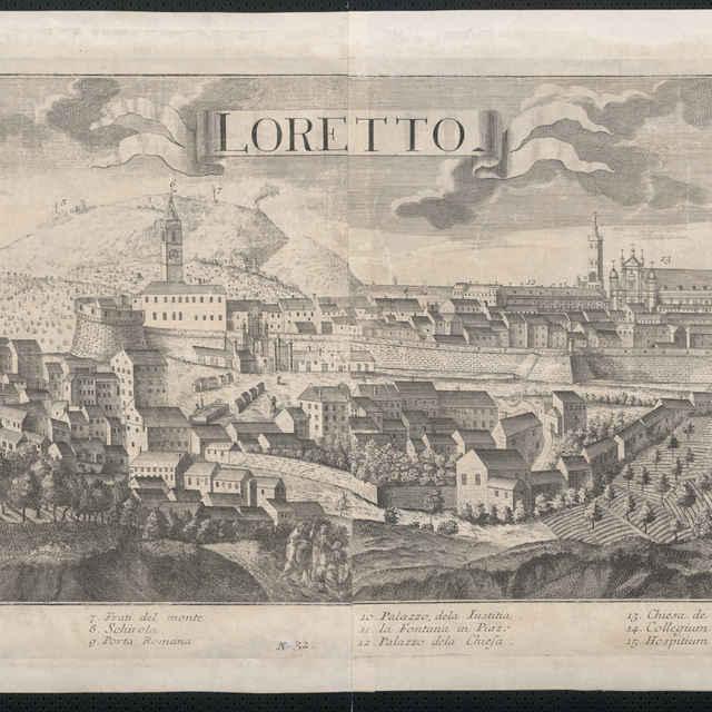 Obraz, Loretto. (Loreto), <u>veduta</u>, autori: Friedrich <u>Bernhard</u> <u>Werner</u>, Johann Friedrich Probst, Jeremias Wolff, grafika, r.1730-1750