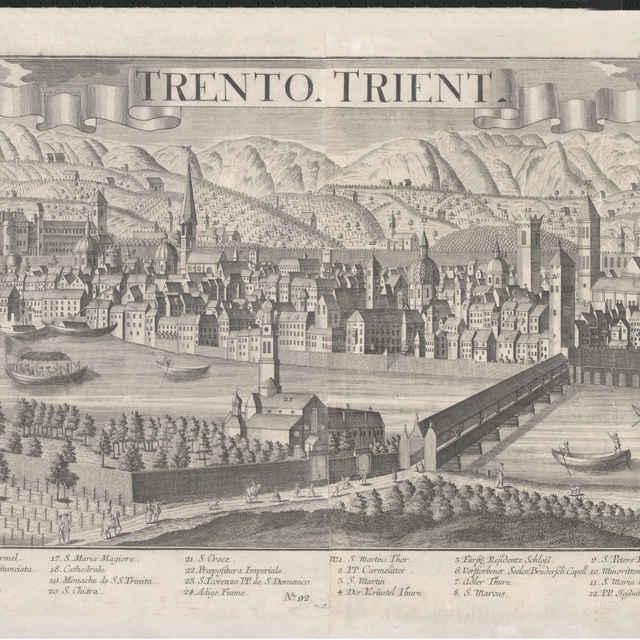 Obraz, Trento Trient. (Trident), veduta, autori: Friedrich Bernhard Werner, Johann Friderich Probst, Jeremias Wolff, grafika, r.1730-1740 - Werner Friedrich Bernhard