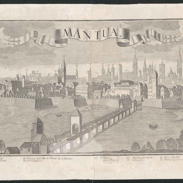 Obraz, Mantua (Mantova), <u>veduta</u>, autori: Friedrich <u>Bernhard</u> <u>Werner</u>, Johann Friedrich Probst, grafika, r.1730-1750