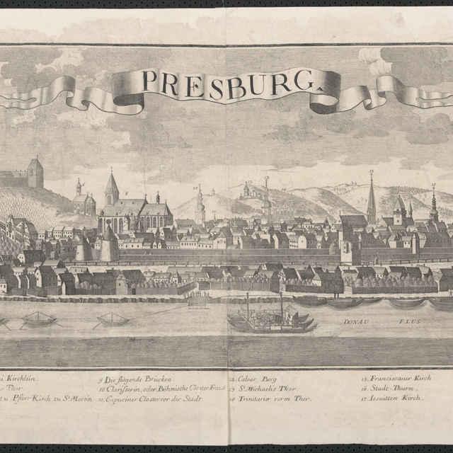 Obraz, Pressburg. (Bratislava), <u>veduta</u>, autori: Friedrich <u>Bernhard</u> <u>Werner</u>, Johann Friedrich Probst, grafika, r.1732-1740