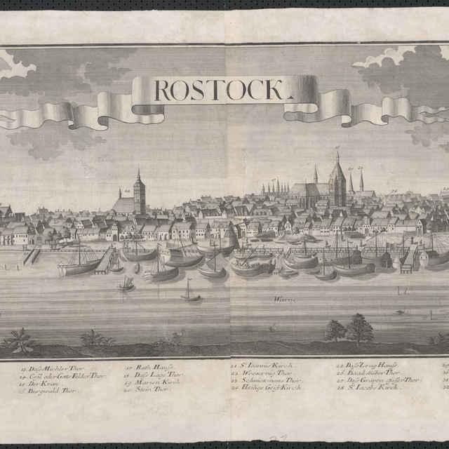 Obraz, Rostock. (Rostok), veduta, autori: Friedrich Bernhard Werner, Jeremias Wolff, grafika, okolo r.1750 - Werner Friedrich Bernhard