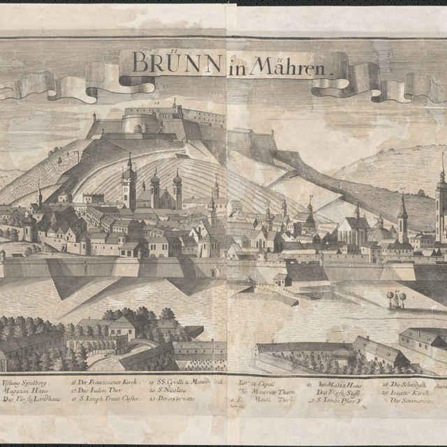 Obraz, Brünn in Mähren. (Brno), veduta, autori: Friedrich Bernhard Werner, Johann Friedrich Probst, grafika, r.1732-1740 - Werner Friedrich Bernhard