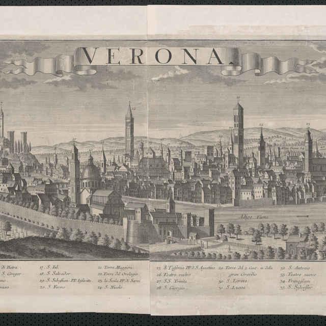 Obraz, Verona, <u>veduta</u>, autori: Friedrich <u>Bernhard</u> <u>Werner</u>, Johann Fredrich Probst, grafika, r.1730-1735
