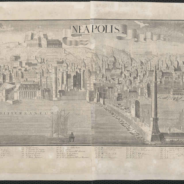 Obraz, Neapolis. (Neapol), <u>veduta</u>, autori: Friedrich <u>Bernhard</u> <u>Werner</u>, Johann Friedrich Probst, grafika, r.1730-1740