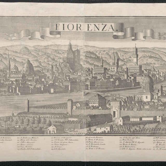 Obraz, Fiorenza. (Florencia), veduta, autori: Friedrich Bernhard Werner, Jeremias Wolf, grafika, r.1730-1740 - Werner Friedrich Bernhard