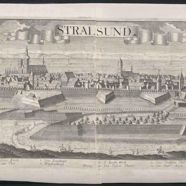 Obraz, Stralsund, veduta, autori: Johann Friedrich probst, Friedrich Bernhard Werner, Jeremias Wolff, grafika, r.1728-1750 - Werner Friedrich Bernhard