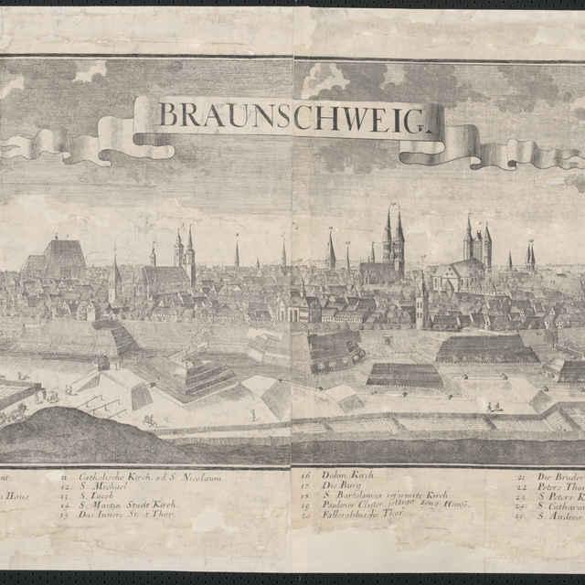 Obraz, Braunschweig, <u>veduta</u>, autori: Johann Friedrich Probst, Friedrich <u>Bernhard</u> <u>Werner</u>, Jeremias Wolff, grafika, r.1729-1750