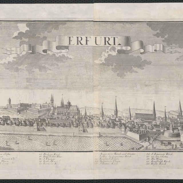 Obraz, Erfurt, <u>veduta</u>, autori: Friedrich <u>Bernhard</u> <u>Werner</u>, Jeremias Wolff, grafika, r.1727-1750