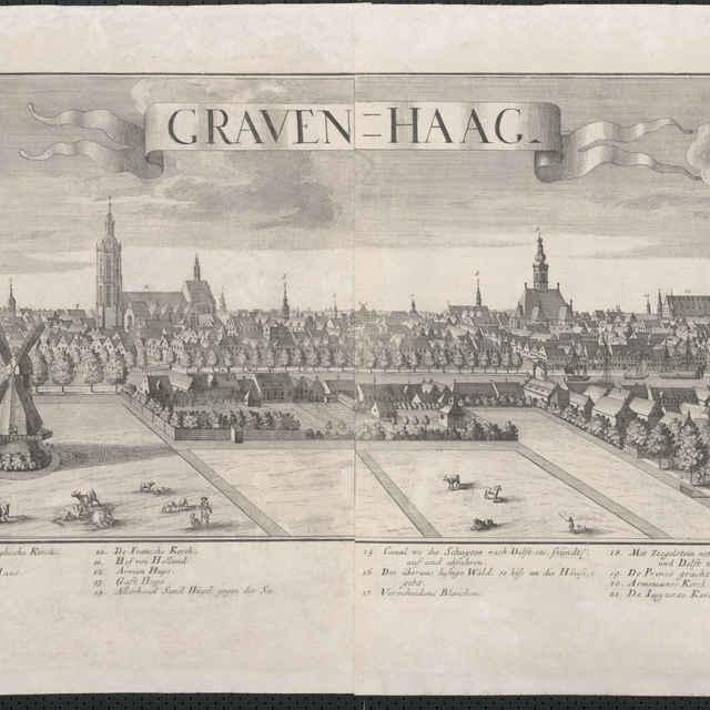 Obraz, Graven Haag. (Haag), <u>veduta</u>, autori: Friedrich <u>Bernhard</u> <u>Werner</u>, Jeremias Wolff, grafika, r.1729-1750