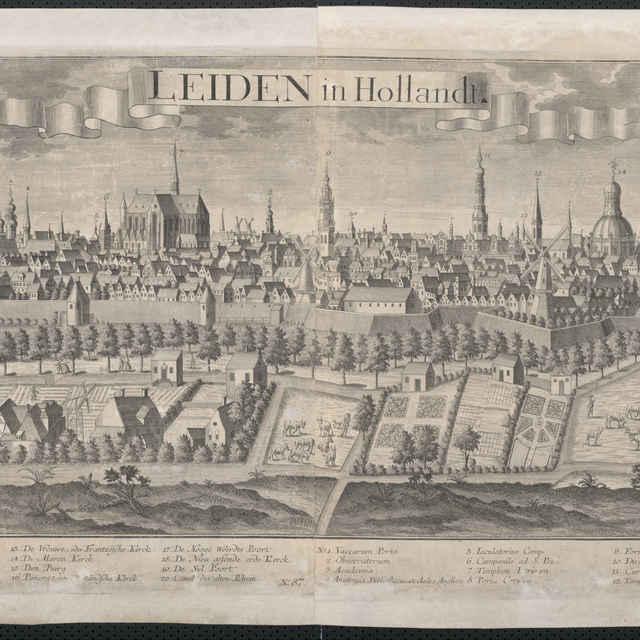 Obraz, Leiden in Hollandt. (Leiden), <u>veduta</u>, autori: Johann Friedrich Probst, Friedrich <u>Bernhard</u> <u>Werner</u>, grafika, r.1729-1750