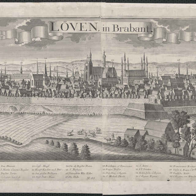Obraz, Loven in Brabant. (Leuven), veduta, autori: Johann Friedrich Probst, Friedrich Bernhard Werner, Jeremias Wolff, grafika, r.1729-1750 - Werner, Friedrich Bernhard