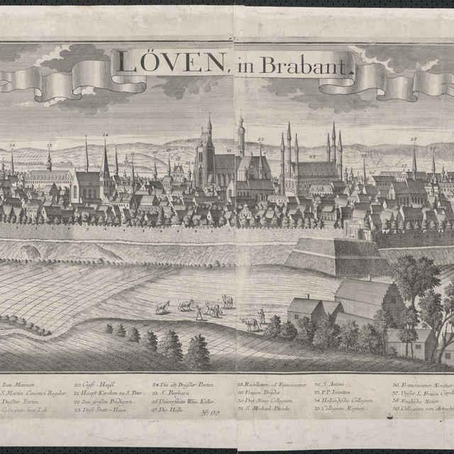 Obraz, Loven in Brabant. (Leuven), <u>veduta</u>, autori: Johann Friedrich Probst, Friedrich <u>Bernhard</u> <u>Werner</u>, Jeremias Wolff, grafika, r.1729-1750
