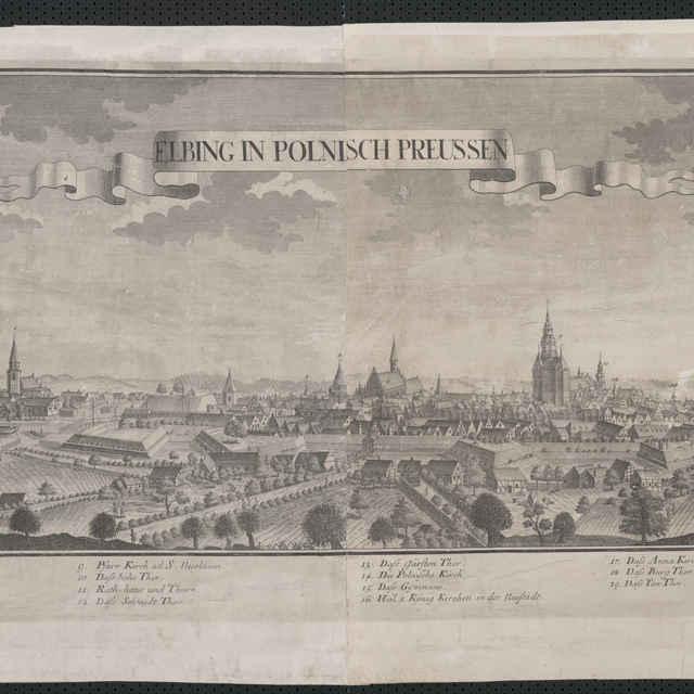 Obraz, Elbing in Polnisch Preussen. (Elblag), <u>veduta</u>, autori: Friedrich <u>Bernhard</u> <u>Werner</u>, Jeremias Wolff, grafika, r.1719-1750