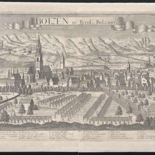 Obraz, Botzen in Tyrol. Bolzano. (Bolzano), <u>veduta</u>, autori: Friedrich <u>Bernhard</u> <u>Werner</u>, Georg Balthasar Probst, grafika, r.1730-1760