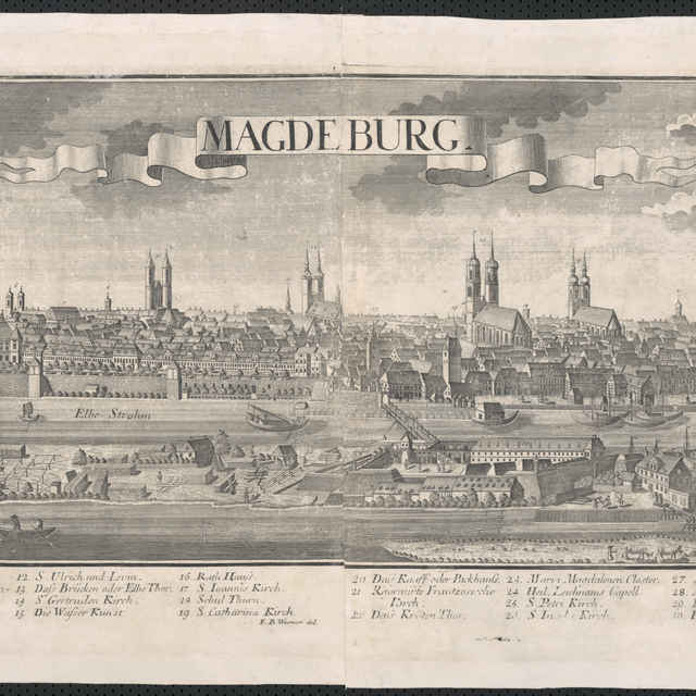 Obraz, Magdeburg, veduta, autori: Johann Friedrich Probst, Friedrich Bernhard Werner, grafika, r.1728-1750 - Probst, Johann Friedrich