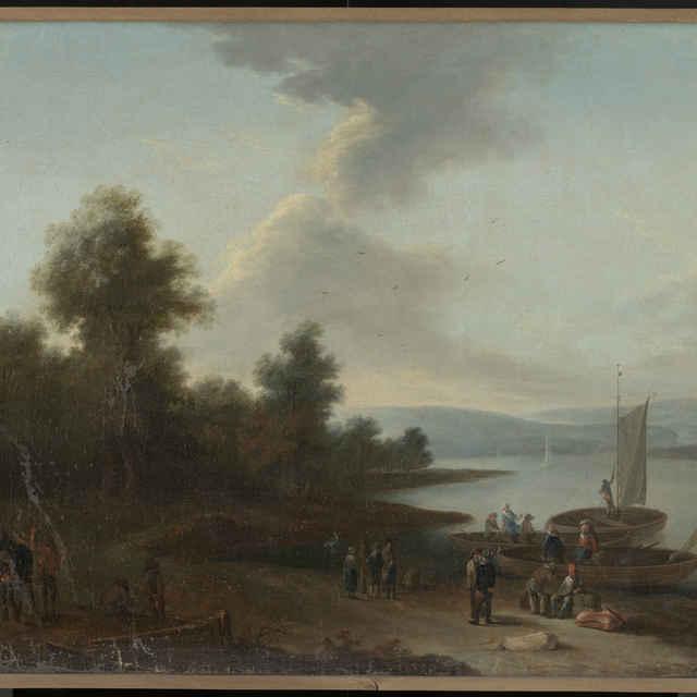 Romantická krajina s prístavom - neznámy (osobné meno)
