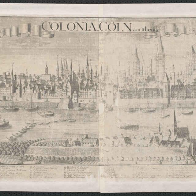 Obraz, Colonia Coln am Rhein. (Kolín nad Rýnom), <u>veduta</u>, autori: Johann Friedrich Probst, Friedrich <u>Bernhard</u> <u>Werner</u>, Jeremias Wolff, grafika, r.1729-1750