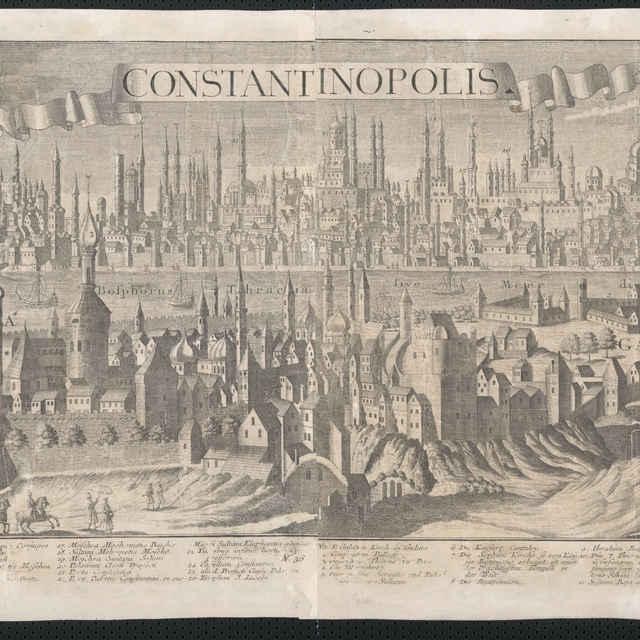 Obraz, Constantinopolis. (Istambul), <u>veduta</u>, autori: Johann Friedrich Probst, Friedrich <u>Bernhard</u> <u>Werner</u>, Jeremias Wolff, grafika, r.1735-1760