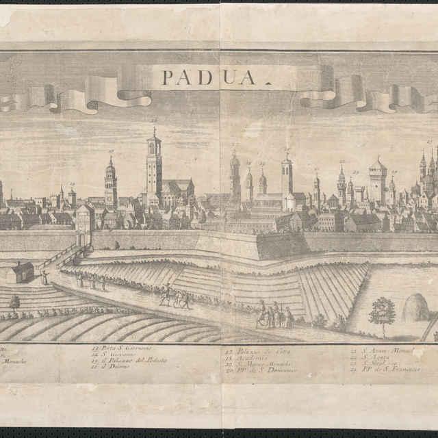 Obraz, Padua. (Padova), <u>veduta</u>, autori: Friedrich <u>Bernhard</u> <u>Werner</u>, Johann Friedrich Probst, grafika, r.1730-1750