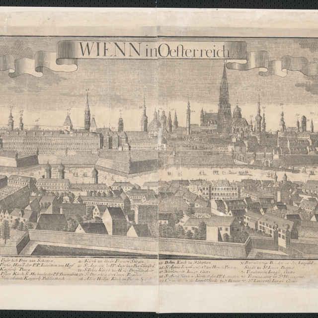 Obraz, Wienn in Oesterreich. (Viedeň), <u>veduta</u>, autori: Friedrich <u>Bernhard</u> <u>Werner</u>, Johann Friedrich Probst, grafika, r.1732-1740