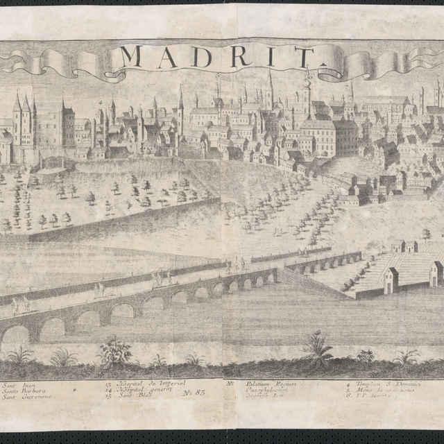Obraz, Madrit. (Madrid), veduta, autor: Johann Friedrich Probst, grafika, r.1730-1750 - Werner Friedrich Bernhard