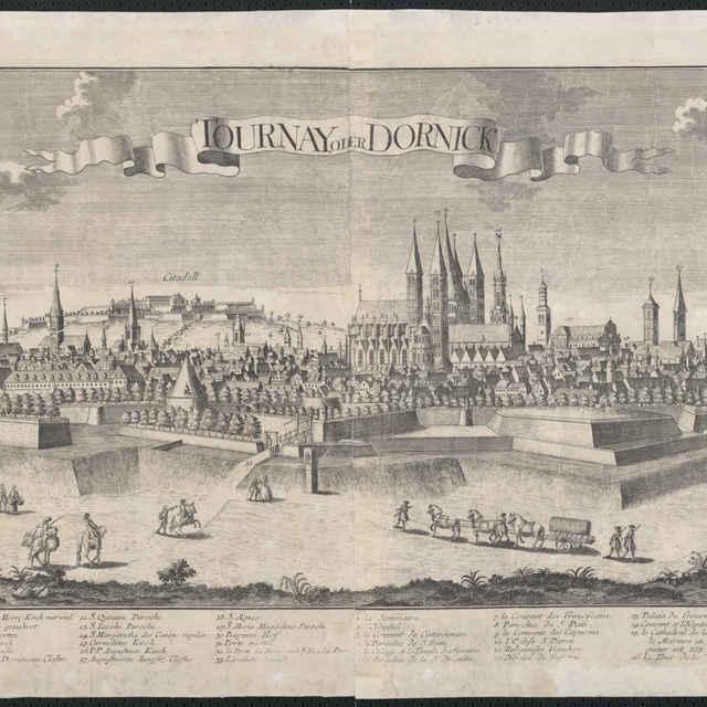 Obraz, Tournay oder Dornick. (Tournai), veduta, autori: Johann Friedrich Probst, Friedrich Bernhard, Jeremias Wolff, grafika, okolo r.1750 - Werner Friedrich Bernhard