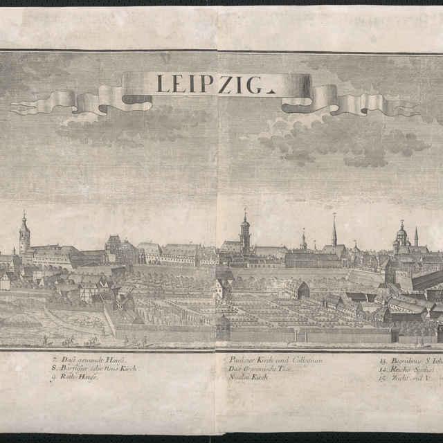 Obraz, Leipzig. (Lipsko), <u>veduta</u>, autori: Johann Friedrich Probst, Friedrich <u>Bernhard</u> <u>Werner</u>, grafika, r.1719-1750