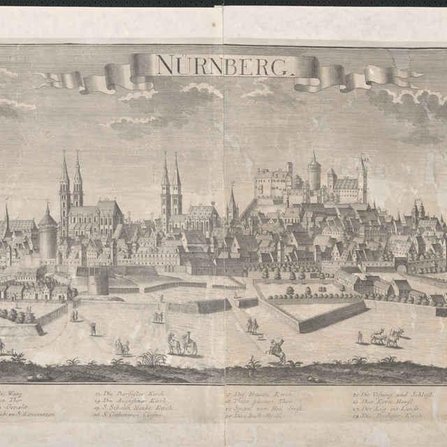 Obraz, Nurnberg. (Norimberg), veduta, autori: Johann Friedrich Probst, Friedrich Bernhard Werner, Jeremias Wolff, grafika, r.1735-1740