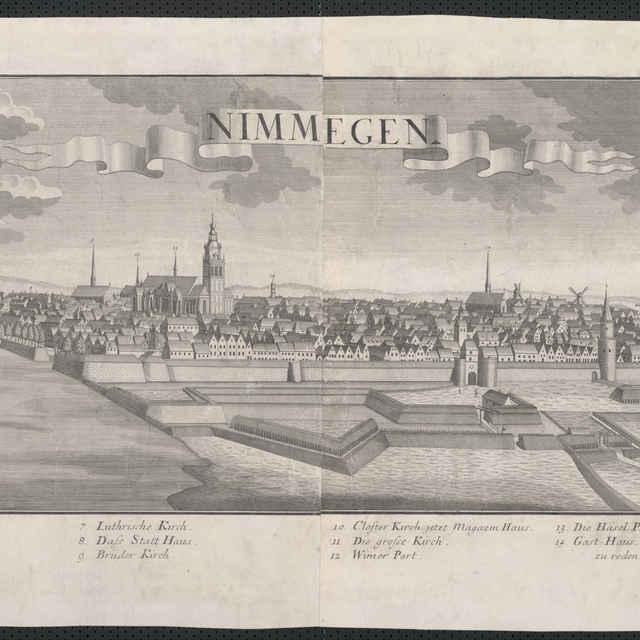 Obraz, Nimmegen. (Nimwegen. Nij Megen), veduta, autori: Friedrich Bernhard Werner, Jeremias Wolff, grafika, r.1729-1750 - Werner, Friedrich Bernhard