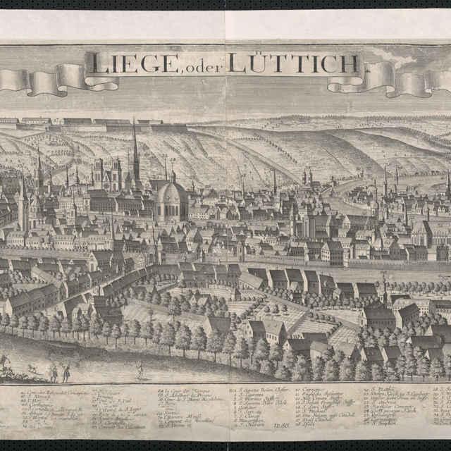Obraz, Liege oder Luttich. (Liége), veduta, autori: Johann Friedrich Probst, Friedrich Bernhard Werner, Jeremias Wolff, grafika, r.1729-1750 - Werner, Friedrich Bernhard