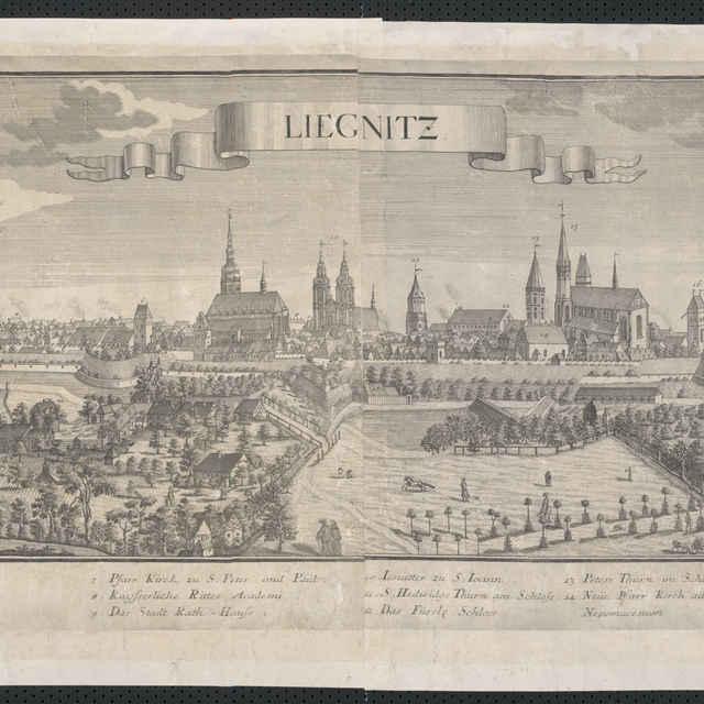 Obraz, Liegnitz. (Legnica), <u>veduta</u>, autori: Friedrich <u>Bernhard</u> <u>Werner</u>, Jeremias Wolff, grafika, r.1725-1740