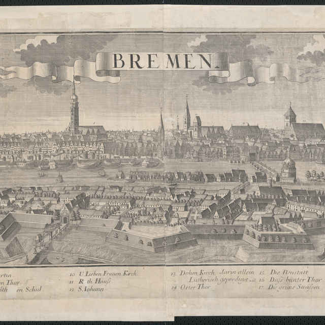 Obraz, Bremen. (Brémy), <u>veduta</u>, autori: Johann Friedrich Probst, Friedrich <u>Bernhard</u> <u>Werner</u>, Jeremias Wolff, grafika, r.1729-1750