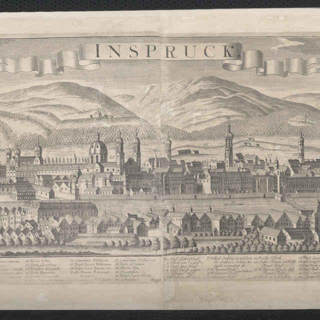 Obraz, Inspruck. (Innsbruck), veduta, autori: Johann Friedrich Probst, Friedrich Bernhard Werner, Jeremias Wolff, grafika, r.1730-1760 - Werner, Friedrich Bernhard