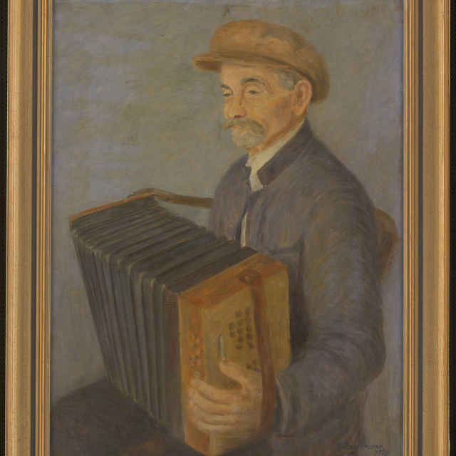 Obraz, Sergej Protopopov, Harmonikár, olejomaľba, 1928 - Protopopov, Sergej