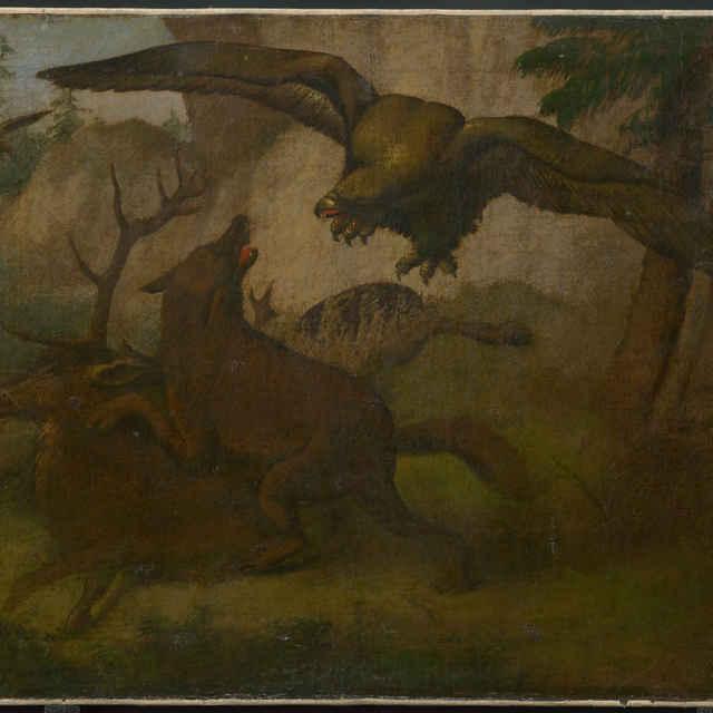 Kompozícia ulovený jeleň, orol a <u>pes</u>