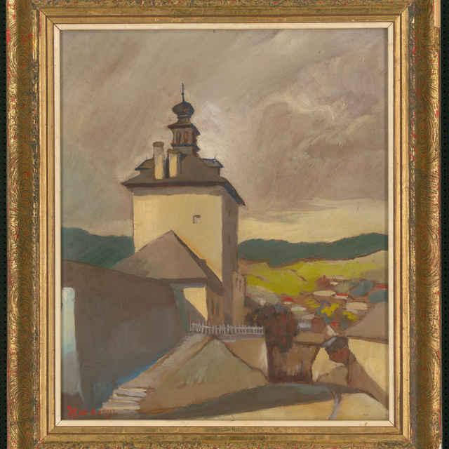 Obraz, Jozef Hardónyi: Klopačka v Banskej Štiavnici, olejomaľba, 40. roky 20. storočia - Hardónyi, Jozef