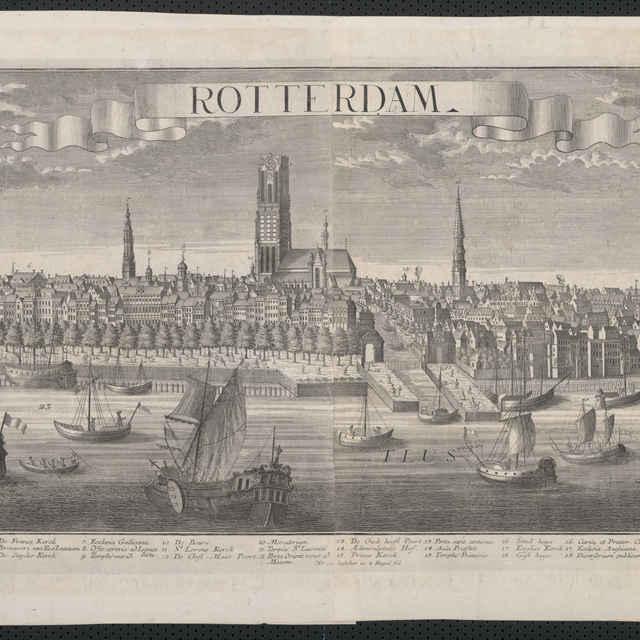 Obraz, Rotterdam, veduta, autor: Georg Balthasar Probst, grafika, r.1725-1760 - Werner Friedrich Bernhard