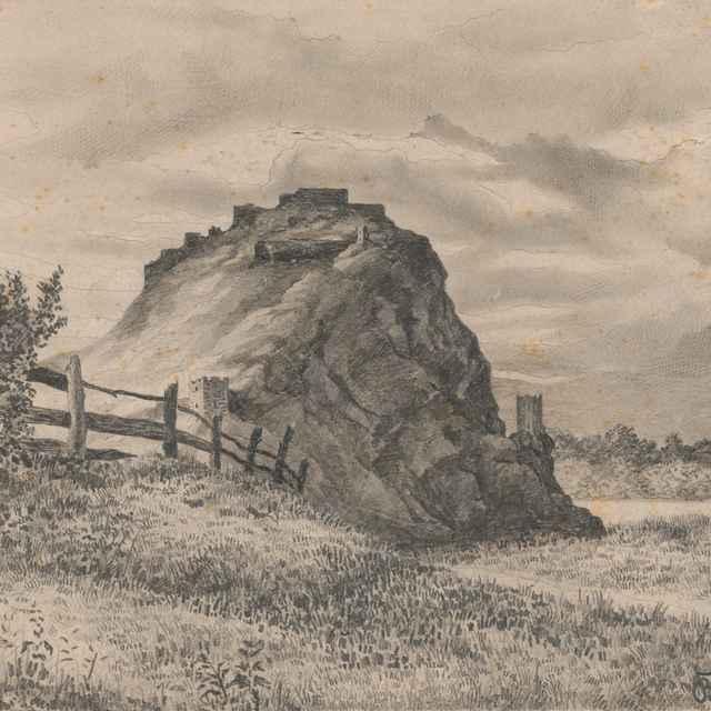Pohľad na zrúcaniny hradu Devín - Bošácky, Gejza