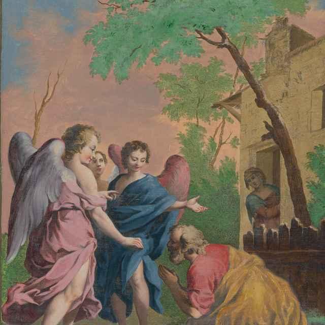 Abrahám kľačí pred troma anjelmi - Amigoni, Jacopo