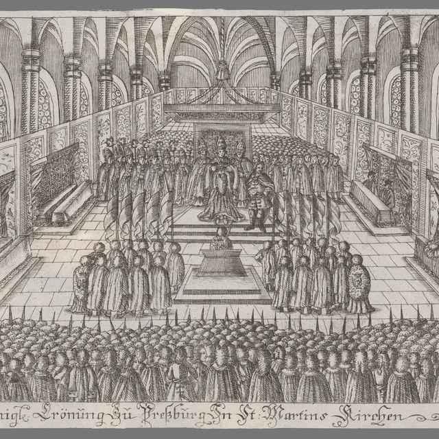 Korunovácia Alžbety Kristíny v Dóme sv. Martina - Stredoeurópsky grafik z 18. storočia
