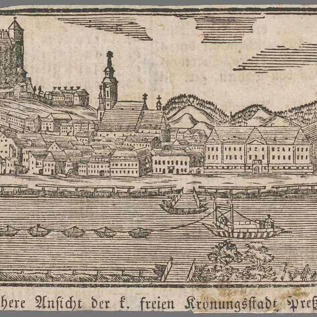 Bratislava z juhu - Stredoeurópsky grafik z 1. polovice 19. storočia