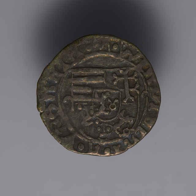 Denár Vladislava II. (1490 - 1516), uhorský, Kremnica, zn. K - s/e (1496-1497) - z hromadného nálezu.
