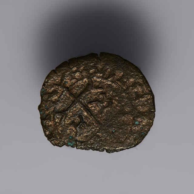 Denár Mateja Korvína, uhorský, typ so znakom (1458-1460), Kremnica, zn. K-B, meď