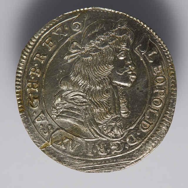 Pätnásťgrajciarnik Leopolda I. (1657-1705), uhorský, mincovňa Kremnica (K-B), striebro, rok 1681