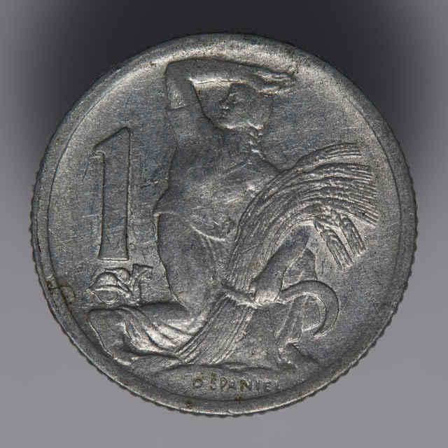 Minca kovová, (hliník), 1 koruna; Republika československá, rok 1950, sign. O. Španiel, priemer 21 mm