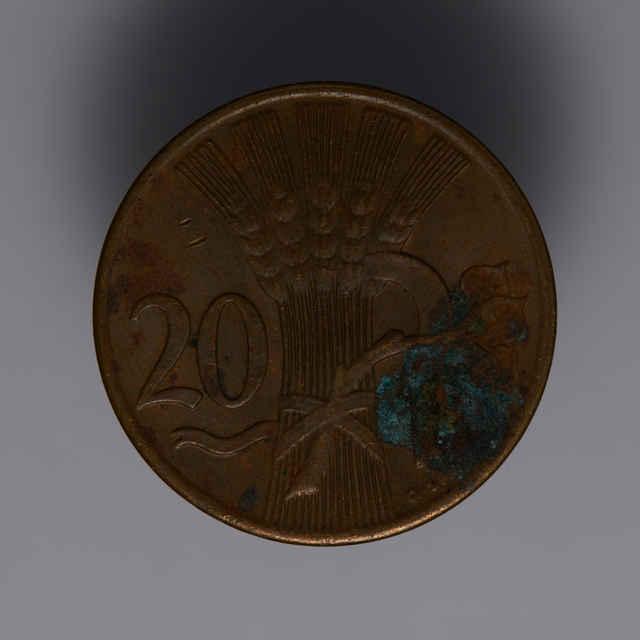 Minca kovová, (meď), 20 halierov; Republika československá, rok 1948, sign. O. Španiel, priemer 20 mm