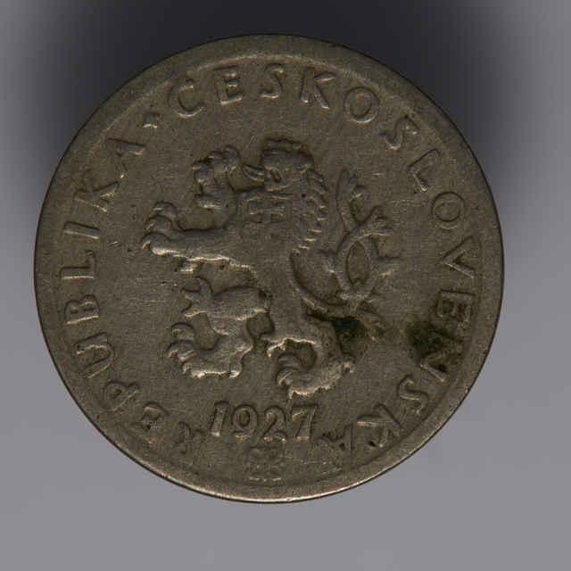 Minca kovová, (nikel), 20 halierov; Republika československá, rok 1927, priemer 20 mm, sign. O. Španiel