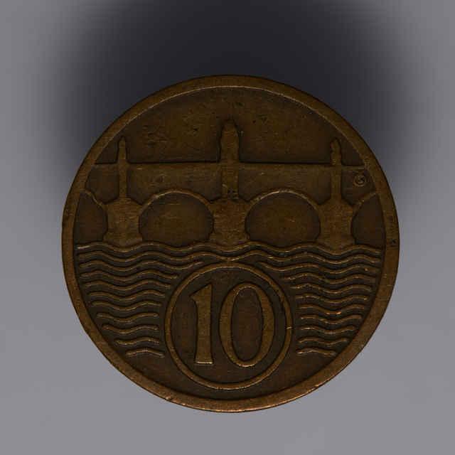Minca kovová, (meď), 10 halierov; Republika československá, rok 1931, priemer 19 mm, zn. Š